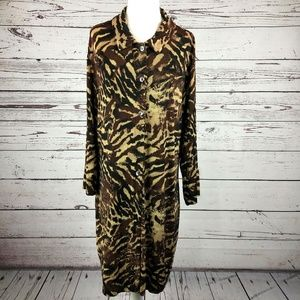 Chico's Travelers Brown Animal Print Shirt Dress